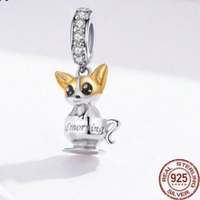 Load image into Gallery viewer, Teacup Corgi Silver PendantDog Themed Jewellery