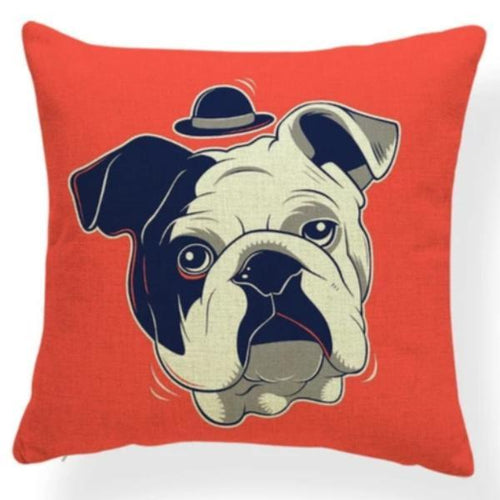 Top Hat English Bulldog Cushion Cover - Series 7Cushion CoverOne SizeEnglish Bulldog - Red Background