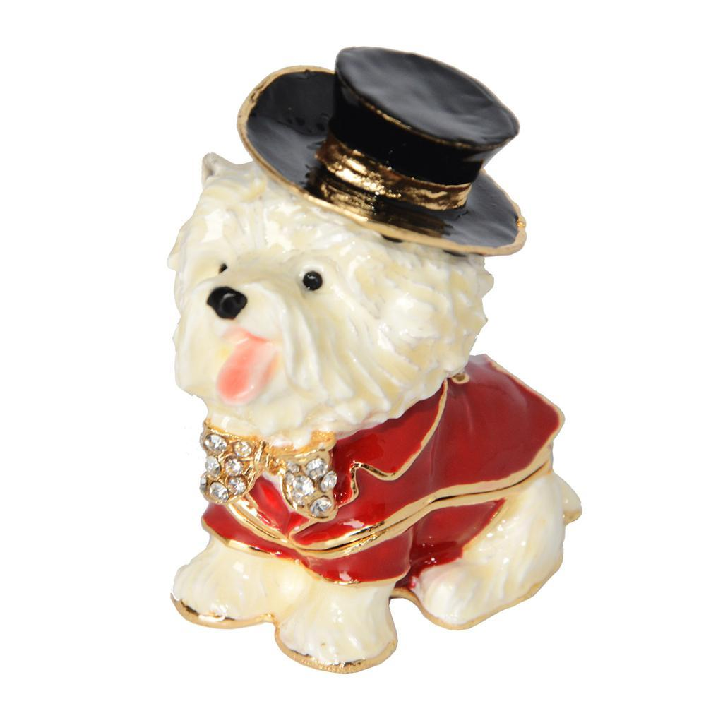 Top Hat Maltese Small Jewellery Box FigurineDog Themed Jewellery