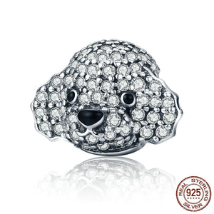 Toy Poodle Love Silver Charm BeadDog Themed Jewellery