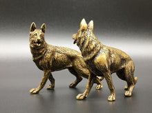 Load image into Gallery viewer, Twin German Shepherds Miniature Brass Figurines - 2 PcsHome Decor