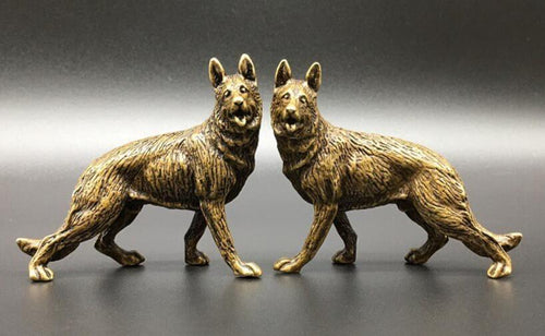 Twin German Shepherds Miniature Brass Figurines - 2 PcsHome Decor