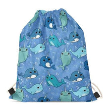 Load image into Gallery viewer, Unicorn American Pit Bull Terriers Love Drawstring BagAccessoriesBlue Whales