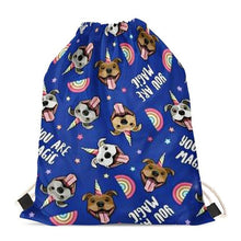 Load image into Gallery viewer, Unicorn American Pit Bull Terriers Love Drawstring BagAccessoriesStaffordshire Bull Terrier - Blue BG