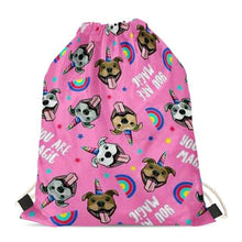 Load image into Gallery viewer, Unicorn American Pit Bull Terriers Love Drawstring BagAccessoriesStaffordshire Bull Terrier - Pink BG