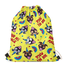 Load image into Gallery viewer, Unicorn American Pit Bull Terriers Love Drawstring BagAccessoriesStaffordshire Bull Terrier - Yellow BG