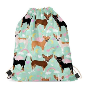 Unicorn Chihuahuas Love Drawstring BagAccessoriesChihuahua