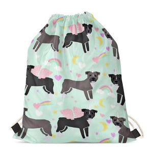 Unicorn Corgis Love Drawstring BagAccessoriesStaffordshire Bull Terrier - Black & Grey