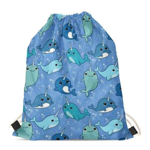 Unicorn French Bulldogs Love Drawstring BagAccessoriesBlue Whales