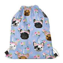 Load image into Gallery viewer, Unicorn French Bulldogs Love Drawstring BagAccessoriesFrench Bulldog