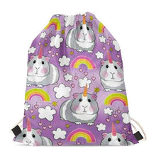 Load image into Gallery viewer, Unicorn French Bulldogs Love Drawstring BagAccessoriesGuinea Pig