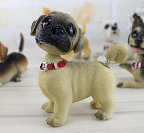 Waggling Tail and Nodding Head Pug BobbleheadCar AccessoriesPug