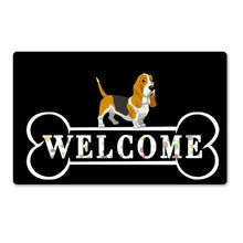 Load image into Gallery viewer, Warm Basset Hound Welcome Rubber Door MatHome DecorBasset HoundSmall