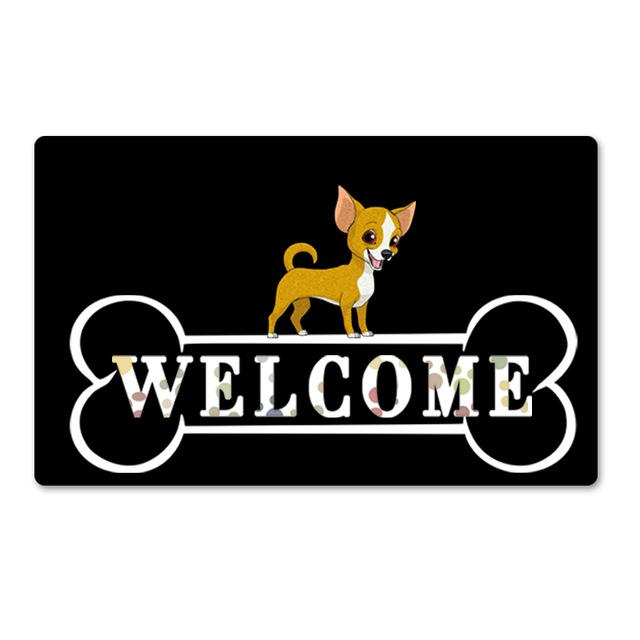 Warm Chihuahua Welcome Rubber Door MatHome DecorChihuahuaSmall