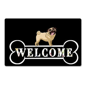 Warm Chihuahua Welcome Rubber Door MatHome DecorPugSmall