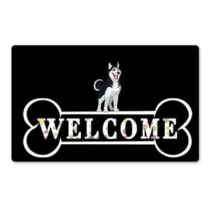 Warm Dachshund Welcome Rubber Door MatHome DecorHuskySmall