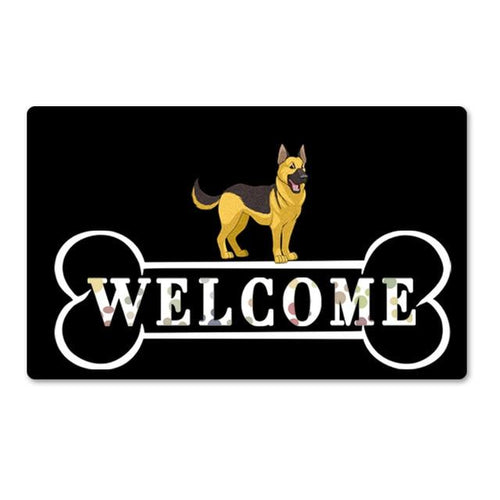 Warm German Shepherd Welcome Rubber Door MatHome DecorGerman ShepherdSmall