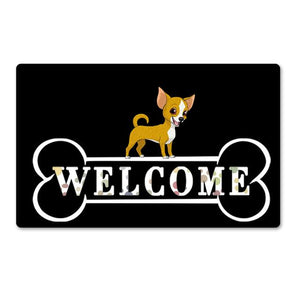 Warm Husky Welcome Rubber Door MatHome DecorChihuahuaSmall