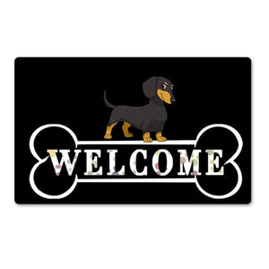 Warm Husky Welcome Rubber Door MatHome DecorDachshundSmall