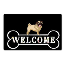 Load image into Gallery viewer, Warm Husky Welcome Rubber Door MatHome DecorPugSmall