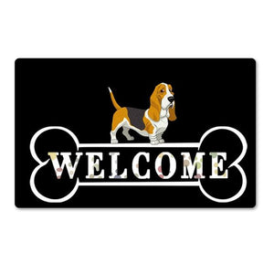 Warm Pug Welcome Rubber Door MatHome DecorBasset HoundSmall