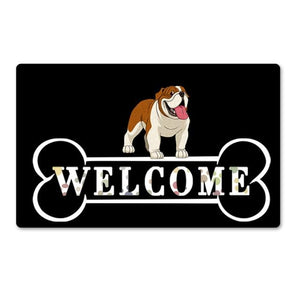 Warm Pug Welcome Rubber Door MatHome DecorEnglish BulldogSmall