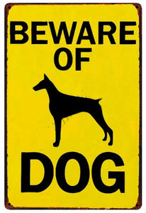 Warning Beware of Dog Tin Sign Board - Series 1Sign BoardDoberman Silhouette - Beware of DogOne Size