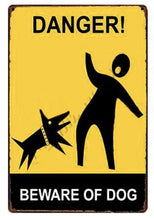Load image into Gallery viewer, Warning Beware of Dog Tin Sign Board - Series 1Sign BoardDog Biting Man - Danger Beware of DogOne Size