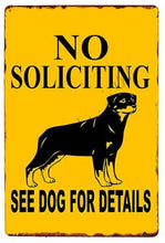 Load image into Gallery viewer, Warning Beware of Dog Tin Sign Board - Series 1Sign BoardRottweiler - No Soliciting See Dog for DetailsOne Size