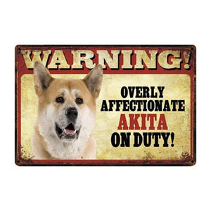 Warning Overly Affectionate Basset Hound on Duty - Tin PosterHome DecorAkitaOne Size