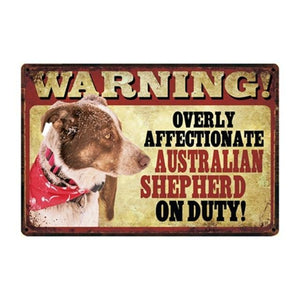 Warning Overly Affectionate Basset Hound on Duty - Tin PosterHome DecorAustralian ShepherdOne Size