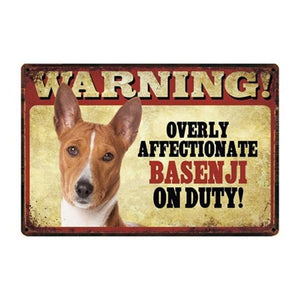 Warning Overly Affectionate Basset Hound on Duty - Tin PosterHome DecorBasenjiOne Size