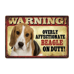 Warning Overly Affectionate Basset Hound on Duty - Tin PosterHome DecorBeagleOne Size