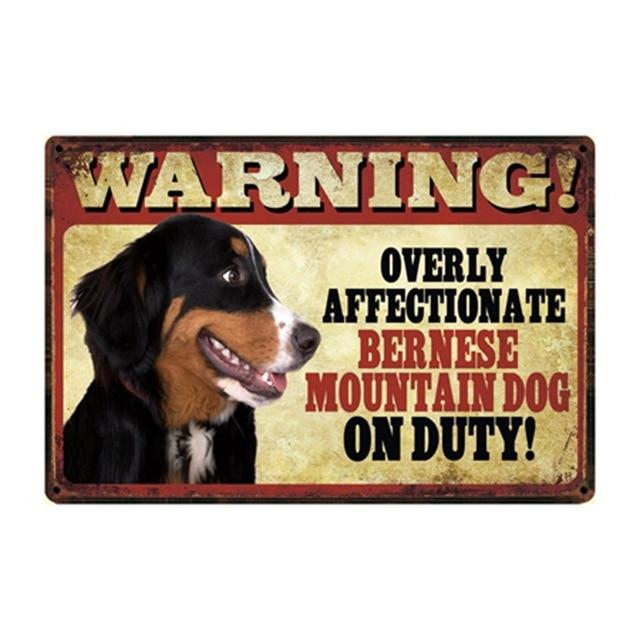 Warning Overly Affectionate Bernese Mountain Dog on Duty - Tin PosterSign BoardBernese Mountain DogOne Size