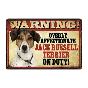 Warning Overly Affectionate Black Labrador Puppy on Duty - Tin PosterHome DecorJack Russel TerrierOne Size