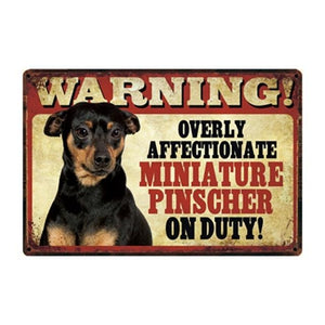 Warning Overly Affectionate Black Labrador Puppy on Duty - Tin PosterHome DecorMiniature PinscherOne Size