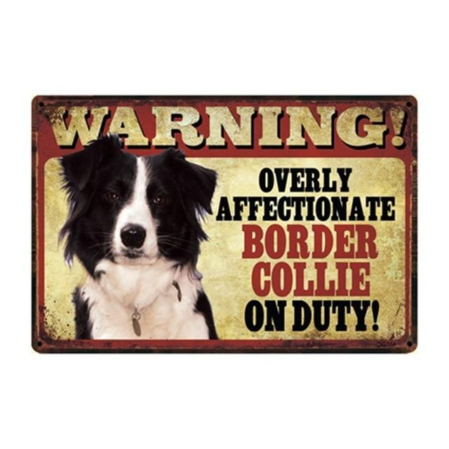 Warning Overly Affectionate Border Collie on Duty - Tin PosterHome DecorBorder CollieOne Size