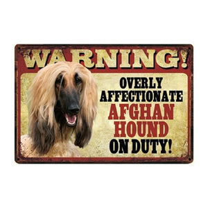 Warning Overly Affectionate Boston Terrier on Duty - Tin PosterHome DecorAfghan HoundOne Size