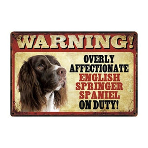 Warning Overly Affectionate Papillon on Duty - Tin PosterHome Decor