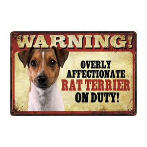 Warning Overly Affectionate Puggle on Duty - Tin PosterHome DecorRat TerrierOne Size