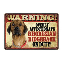Load image into Gallery viewer, Warning Overly Affectionate Puggle on Duty - Tin PosterHome DecorRidgebackOne Size