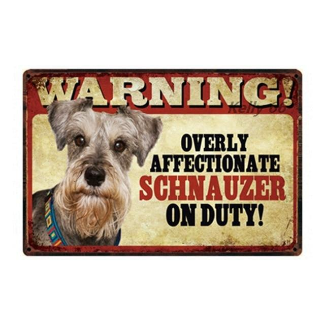 Warning Overly Affectionate Schnauzer on Duty - Tin PosterHome DecorSchnauzer - Front FacingOne Size
