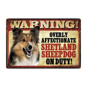 Warning Overly Affectionate Shiba Inu on Duty - Tin PosterHome Decor