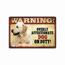 Load image into Gallery viewer, Warning Overly Affectionate Staffordshire Bull Terrier on Duty - Tin Poster - Series 5Home DecorYellow LabradorOne Size