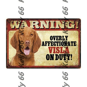 Warning Overly Affectionate Welsh Corgi on Duty - Tin Poster - Series 4Home DecorVizslaOne Size