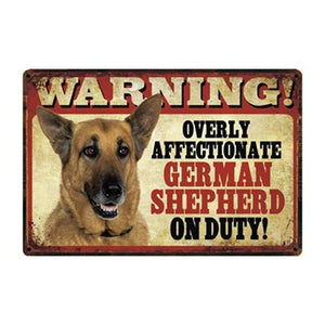 Warning Overly Affectionate Yellow Labrador on Duty - Tin PosterHome DecorGerman ShepherdOne Size