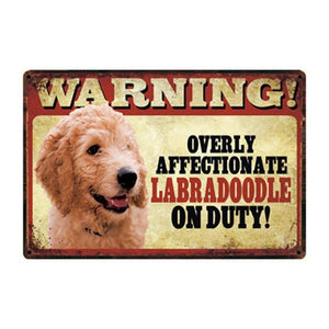 Warning Overly Affectionate Yellow Labrador on Duty - Tin PosterHome DecorLabradoodleOne Size