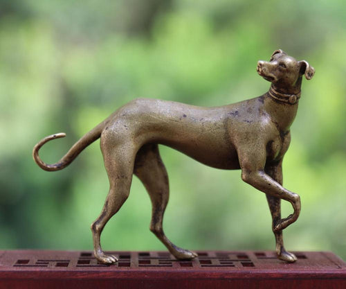 Whippet Love Pure Bronze Good Luck StatueHome Decor