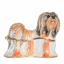 Load image into Gallery viewer, White and Gold Shih Tzu Love Small Jewellery Box FigurineDog Themed Jewellery