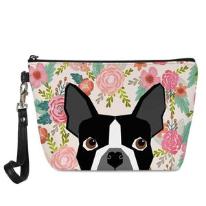 Yellow Labrador in Bloom Make Up BagAccessoriesBoston Terrier